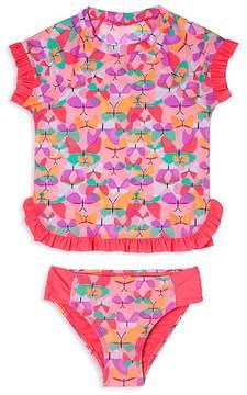 Hula Star Girls' Butterfly Cutie Rash Guard Swimsuit Set - Little Kid