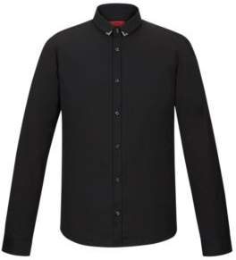 HUGO Boss Slim-fit cotton shirt metal collar tips M Black