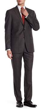 Hart Schaffner Marx Brown Plaid Two Button Notch Lapel Wool New York Fit Suit