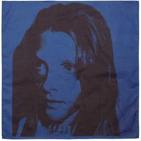 Calvin Klein Blue Sandra Brant Bandana Scarf