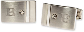 Asstd National Brand Personalized Stainless Steel and Diamond Cuff Links