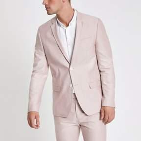 River Island Mens Pink skinny fit Oxford blazer