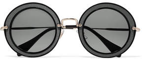 Miu Miu Round-frame Acetate, Twill And Gold-tone Sunglasses - Black