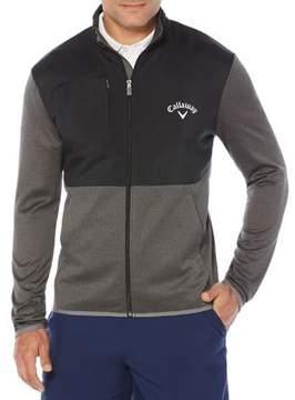 Callaway Big And Tall Big & Tall Opti-Therm Full-Zip Heathered Waffle Fleece Golf Jacket