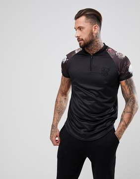 SikSilk Retro Muscle T-Shirt In Black With Floral Sleeves