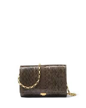 Michael Kors Yasmeen Small Snakeskin Clutch Bag - OLIVE - STYLE