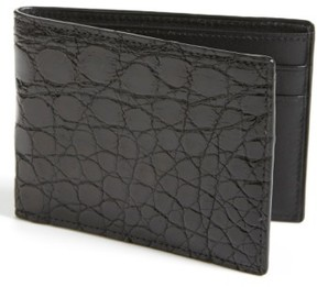 Boconi Men's Crocodile Slimfold Wallet - Black