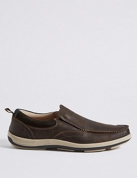 Marks and Spencer Leather Waxy Slip-on Shoes with AirflexTM