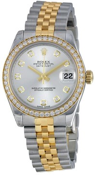 Rolex Datejust Lady 31 Silver Diamond Dial Steel and 18K Yellow Gold Jubilee Watch