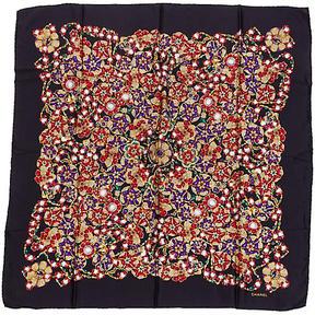 One Kings Lane Vintage Chanel Black Jewel Silk Scarf
