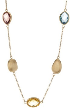 Rivka Friedman 18K Gold Clad Faceted Denim Crystal, Buttercup Crystal, Raspberry Crystal & Satin Bead Necklace