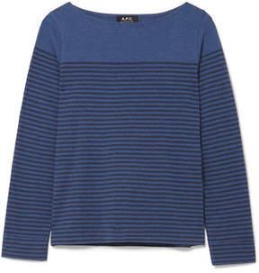 A.P.C. Marienere Liz Striped Cotton-blend Jersey Top - Blue