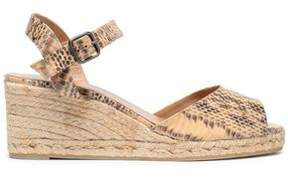 Castaner Snake-Print Faux Leather Espadrille Wedge Sandals