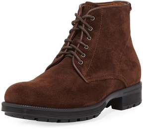 Aquatalia Harvey Waxy Suede Lace-Up Boot, Brown