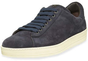 Tom Ford Men's Russell Suede Low-Top Sneakers, Navy