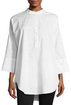 Go Silk 3/4-Sleeve Half-Button Oversized Stretch-Cotton Shirt, Petite