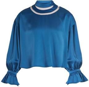 Fendi High cut-out neck satin blouse