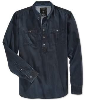 GUESS Mens Faded Denim Button Up Shirt Black S
