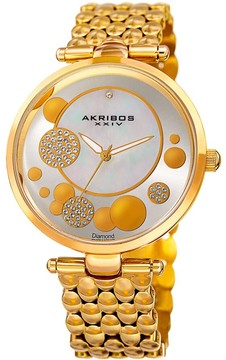 Akribos XXIV Mother of Pearl Dial Gold-Tone Diamond Ladies Watch