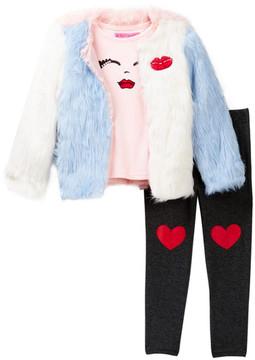 Betsey Johnson Face Tee, Color Block Faux Fur Jacket & Legging Set (Little Girls)