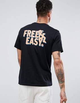 Element Laze T-Shirt with Neon Free & Easy Back Print in Black