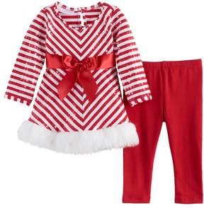 Bonnie Jean Baby Girl Striped Santa Dress & Leggings Set
