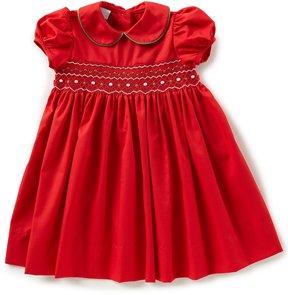 Edgehill Collection Little Girls 2T-4T Christmas Smocked Crochet Dress