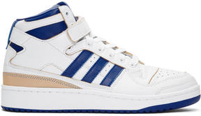 adidas White and Blue Forum Mid Sneakers