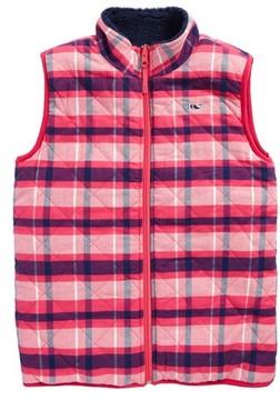 Vineyard Vines Girl's Reversible Plaid Fleece Vest