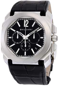 Bvlgari Octo Velocissimo Chronograph Black Lacquered Polished Dial Black Leather Men's Watch