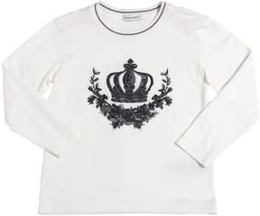 Dolce & Gabbana Crown Embroidered Cotton Jersey T-Shirt