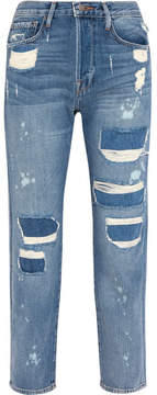 Frame Le Original Distressed High-rise Straight-leg Jeans - Blue