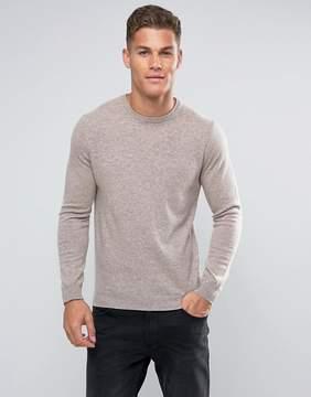 Benetton 100% Merino Sweater In Beige