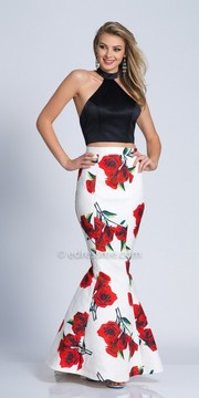 Dave and Johnny Two Piece Floral Printed Halter Prom Dress