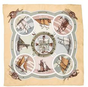 Hermes Belles Amures Silk Pocket Square