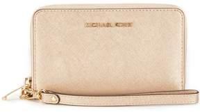 MICHAEL Michael Kors Jet Set Metallic Large Flat Multifunction Phone Wallet - PALE GOLD - STYLE