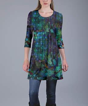 Azalea Blue & Purple Abstract Empire-Waist Tunic - Women & Plus