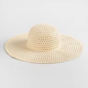 World Market Cream Open Weave Sun Hat