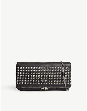 Zadig & Voltaire Rock spike leather clutch bag