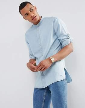Esprit Denim Shirt with Grandad Collar