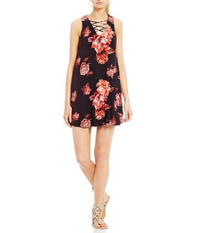 Living Doll Floral Lattice-Front Swing Dress