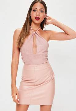Missguided Pink Faux Suede Wrap Over Bodysuit