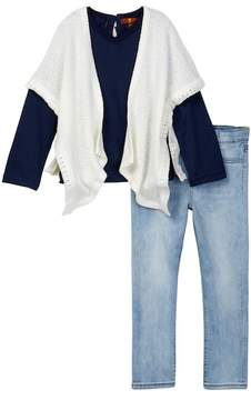 7 For All Mankind Poncho, Long Sleeve Tee, & Skinny Jean Set (Toddler Girls)