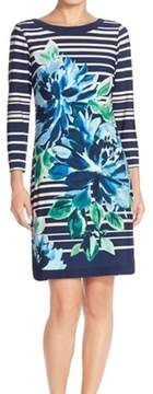 Vince Camuto Women's Printed Stripe Long Sleeve Dress (8, Print)