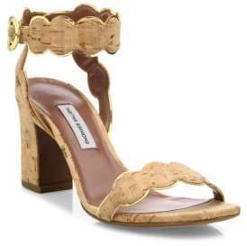 Tabitha Simmons Cloud Scalloped Cork Block Heel Sandals