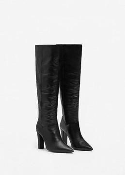 MANGO Gathered leather boots