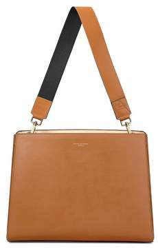 Aspinal of London Large Ella Hobo In Smooth Tan With Black Tan Strap
