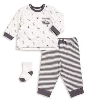 Little Me Baby Boy's Three-Piece Animals Top, Pants, and Socks Set