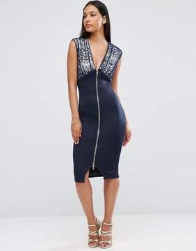 AX Paris Lace Zip Front Bodycon Dress