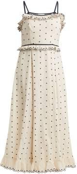 RED Valentino Polka-dot and ruffle-embellished dress
